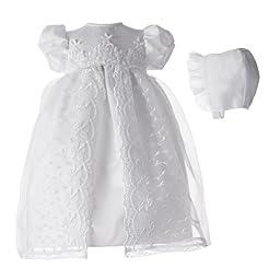 Lauren Madison baby girl Christening Baptism Newborn Embroidered Satin Gown, White, 0-3 Months