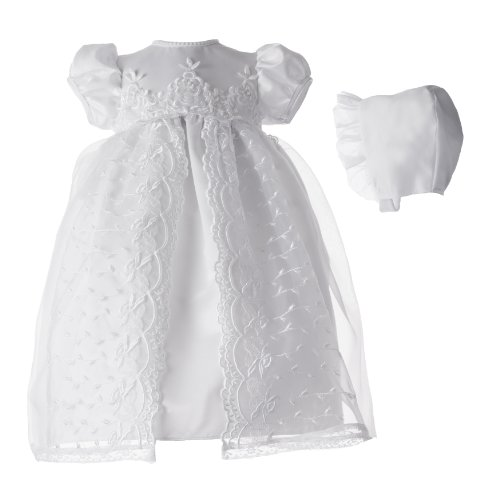 (Lauren Madison baby girl Christening Baptism Newborn Embroidered Satin Gown, White, 0-3 Months)