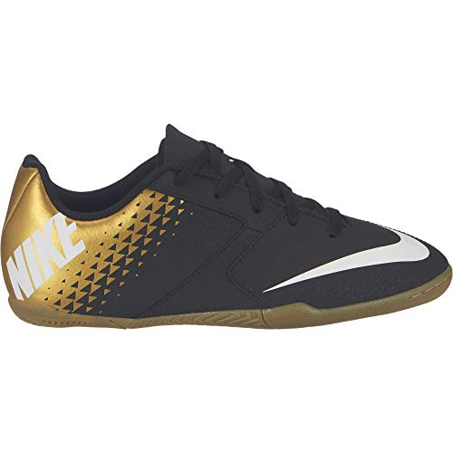 Nike Kids Jr Bombax Indoor Soccer Shoe Black/White/Metallic Vivid Gold Size 10.5 Kids US