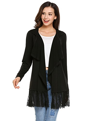Opino Women's Elegant Long Sleeve Open Front Lace Patchwork Hooded Cardigan Sweater (Hooded Lace Cotton)