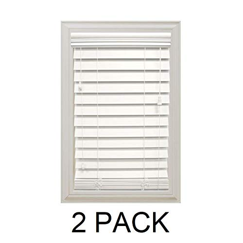 Home Decorators Collection White 2-1/2 in. Premium Faux Wood Blind – 52 in. W x 64 in. L (Actual Size is 51.5 in. W x 64 in. L) (2 Pack)