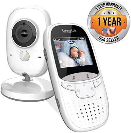 Video Baby Monitor Long Range – Upgraded 850 Wireless Range, Night Vision, Temperature Monitoring and Portable 2 Color Screen – Serenelife USA SLBCAM11 Gray
