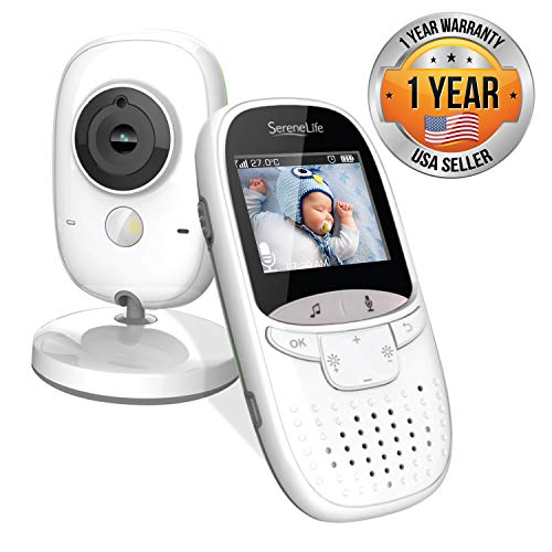 Video Baby Monitor Long Range - Upgraded 850' Wireless Range Camera, Night Vision, Temperature Monitoring and Portable 2' Color Screen - Serenelife SLBCAM11 (Grey)