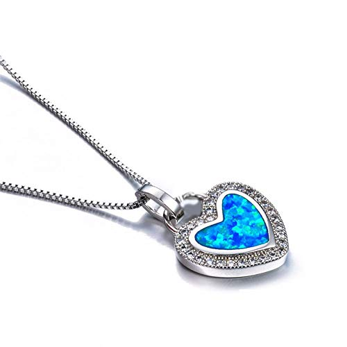 (Nattaphol Fashion Blue Artificial Fire Opal Heart Pendant Necklace Crystal Silver Filled for Women Wedding)