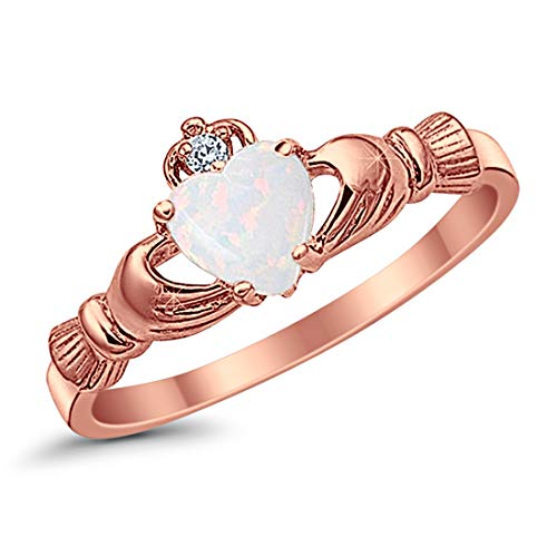 (925 Sterling Silver Claddagh Ring Rose Tone Rhodium Plated Created Fiery Lab Created White Opal CZ accent, Size-5)