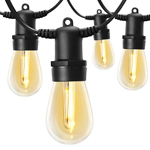 LITOM 48FT Outdoor String Lights Commercial Grade Shatterproof Weatherproof Patio Lights, Edison Vintage Bulbs 15 Hanging Sockets for Decorative Patio Bistro Café Backyard (Lights String Patio Outdoor)