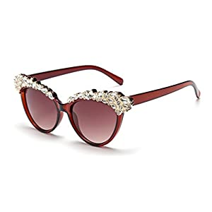 I'M KING Brow Lash Jewel Cat Eye Anti-glare Sunglasses Eyewear For Womens