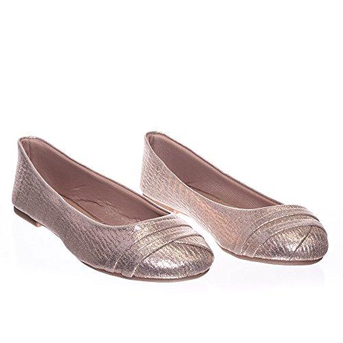 Ballerine Glitter Scintillanti A Punta Rotonda In Metallo, Ballerina Moda Donna 33 Serpente In Oro