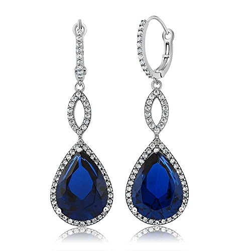 Gem Stone King 20.00 Ct 2inches Pear Shape Blue Simulated Sapphire 925 Sterling Silver Earrings Blue Sapphire Drop Earrings