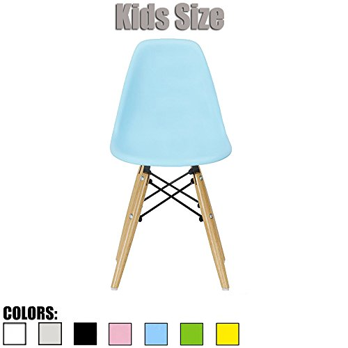 2xhome - Blue - Kids Size Eames Side Chair Eames Chair Blue Seat Natural Wood Wooden Legs Eiffel Childrens Room Chairs No Arm Arms Armless Molded Plastic Seat Dowel (Charles Desk Chair)