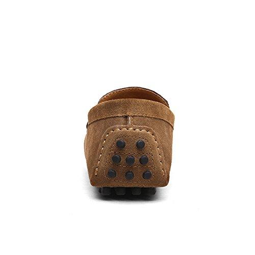 Shenn Hombres Minimalismo Casual Zapatos de Conducción Gamuza Mocasines de Cuero 2088 Marrón