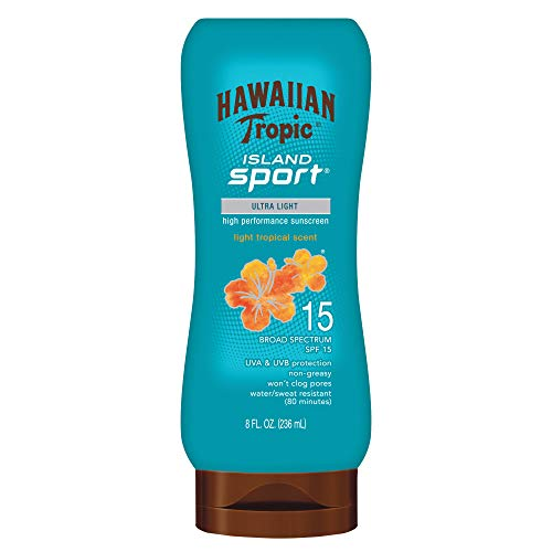 Hawaiian Tropic Island Sport Sunscreen Lotion, Ultra Light, High Performance Protection, SPF 15, 8 Ounces
