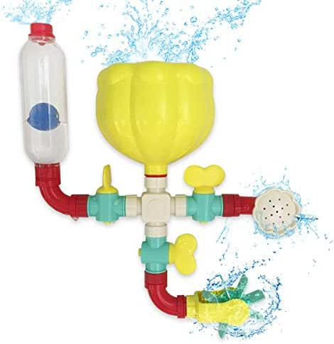 Lydaz Pipe Bath Toys with Fun Widgets - Educational Bathtub Water Toy for Baby Kids Toddlers - Multiple Ways to Play