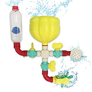 Lydaz Pipe Bath Toys with Fun Widgets - Educational Bathtub Water Toy for Age 1 2 3 4 5 6 7 Years Old Kids Baby Toddlers - Multiple Ways to Play - Mold Free Bath Toys Set for Boys and Girls