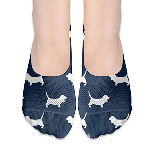Basset Hound Pet Quilt B Silhouette Dog Breed Coordinate Cotton Low Cut Socks Non-Slip Grips Casual For Men And Women
