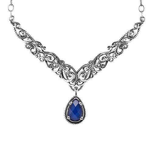 Carolyn Pollack Signature Sterling Silver Lapis Doublet Pendant Enhancer Necklace Lapis Enhancer Pendant