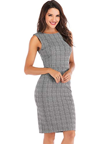 Lefancy Sheath Dress Women's Office Neck Work F Plaid Sleeveless O UFTUwPxq