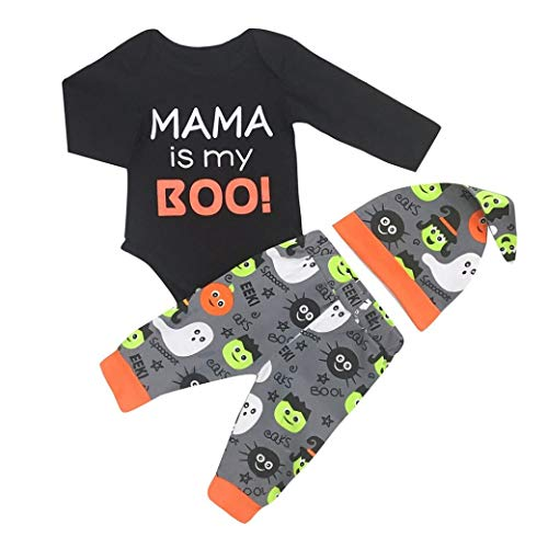 Infant Toddler Baby Boys Girls Halloween Costume 0-2 Years Old,3Pcs Letter Print Romper+Cartoon Print Pants+Hat (0-6 Months, Black)