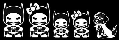 Batman Stick Family Decal Vinyl Sticker|Cars Trucks Vans Walls Laptop| White |7.5 x 3 in|LLI183