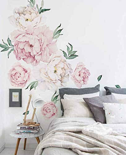 Floral Wall Decals - Simple Shapes Peony Flowers Wall Sticker - Vintage Pink