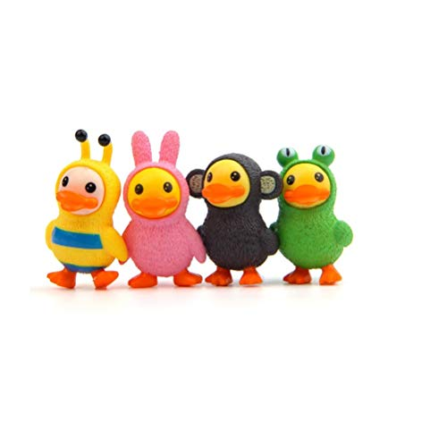 4 pcslot Action Figures Toys Dolls Yellow Duck Animals Cartoon Toys Models Desk Toys Christmas Toys for Children Dolls