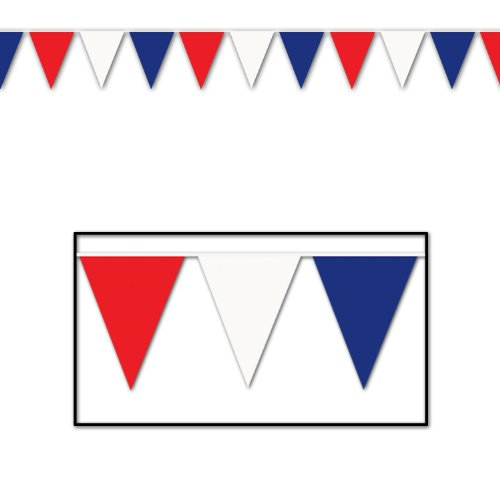Beistle 50702-RWB Red Blue White Outdoor Pennant Banner, 17 by ()
