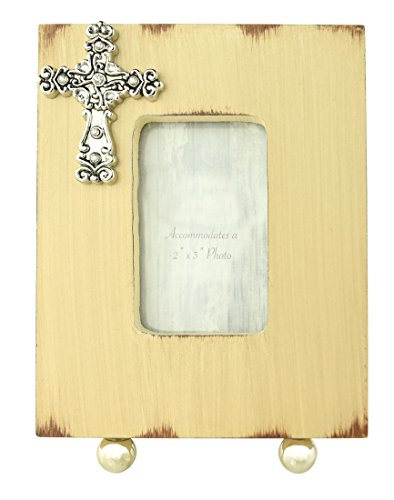(Dickson Gifts Inspirational Rustic Beige Wood Easel Back Photo Frame with Silver Cross - 2 x 3 Opening)