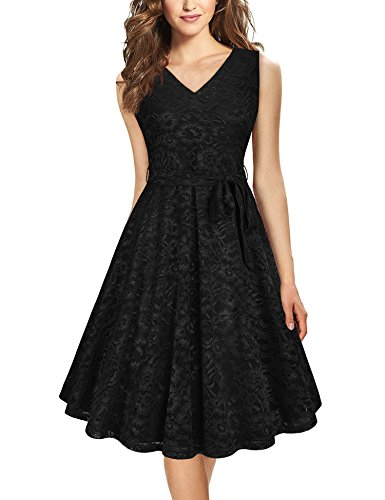 Furnex Little Black Dress, Womens Elegant Lace Dress Knee Length A Line Flowy Swing Cocktail Dress for Summer Spring Date...