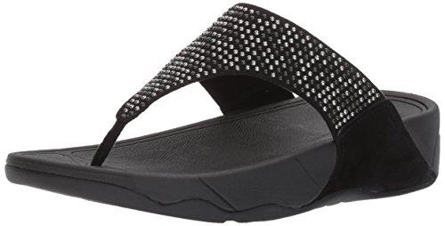 FitFlop Women's Lulu Popstud Flip Flop, Black, 6 M US
