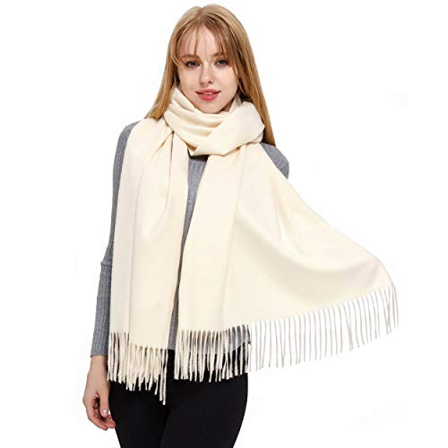 Cashmere Scarf and Shawl, Vimate Novelty Cashmere Pashmina Scarf and Wraps for Women/Girls/Men (A Color (Off-White))