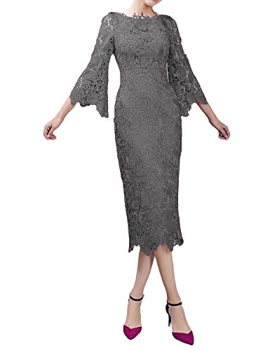LMBRIDAL Women's Lace Mother of The Bride Dress with Sleeves Tea Length Grey 18W