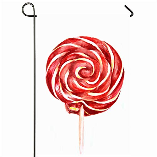 (Ahawoso Garden Flag 12x18 Inches Bright Red Swirl Lollipop Watercolor On Food Drink Yellow Candy Caramel Celebration Design Cute Outdoor Decorative Seasonal Double Sided Home House Yard)