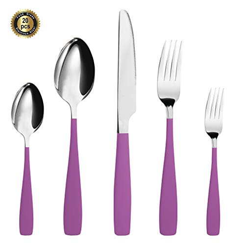 (HF HOFTEN Purple Silverware Set, 20 Piece Food Grade Stainless Steel Flatware Set Include Fork Spoon Knife Utensils for Daily Use and Party, Service for 4, Anti Rust, Safe in Dishwasher (LY000-PUR))