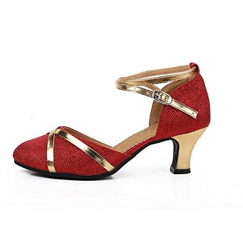 Sandalia De Fondo Baile Baile Rojo Zapatos De Tacones Zapatos WYMNAME De Blando Zapatos Mujeres Latino Social Mediados Baile afBSw