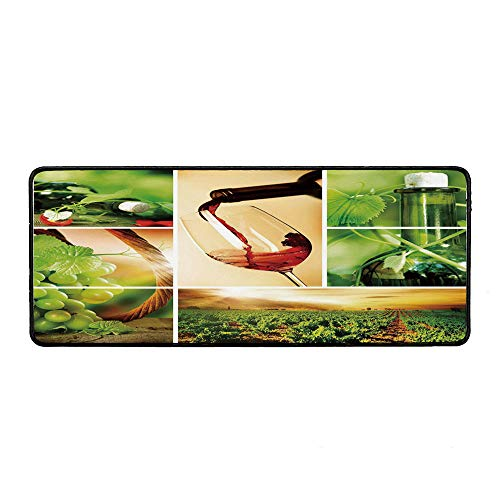 Wine Wristband Mouse Pad,Wine Tasting and Grapevine Collage Green Fresh Field Pouring Drink Delicious Decorative for Home Desk Computer Desk,15.75''Wx35.43''Lx0.12''H