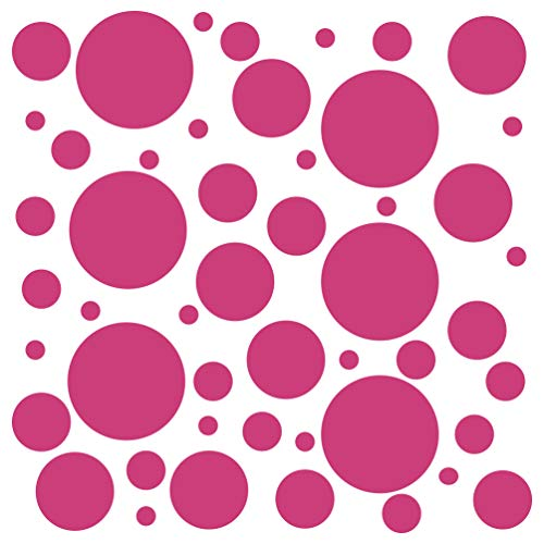 Set of 300 (Hot Pink) Vinyl Wall Decals - Assorted Polka Dots Stickers - Removable Adhesive Safe on Smooth or Textured Walls - Round Circles - for Nursery, Kids Room, Bathroom Decor