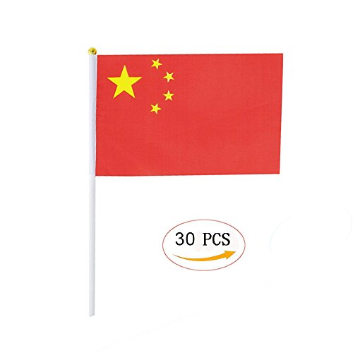 China Stick Flag,Chinese Hand Held Mini Small Flags On Stick International Country World Stick Flags For Party Classroom Garden Olympics Festival Sports Clubs Parades Parties Desk Decorations(30 pack) -