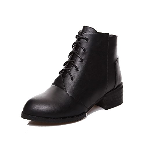 Solid Closed Boots Low Round AgooLar Kitten Women's Top Heels Toe Knot PU with Black 86qxA4wq