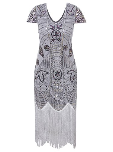 Vijiv Women's 1920s Inspired Sequin Embellished Fringe Long Gatsby Flapper Dress, Silver, X Large