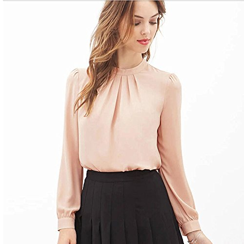 Clearance! Napoo Women Chiffon Turtleneck Lantern Sleeve Drape Blouse Long Sleeve T Shirt (S, Pink)