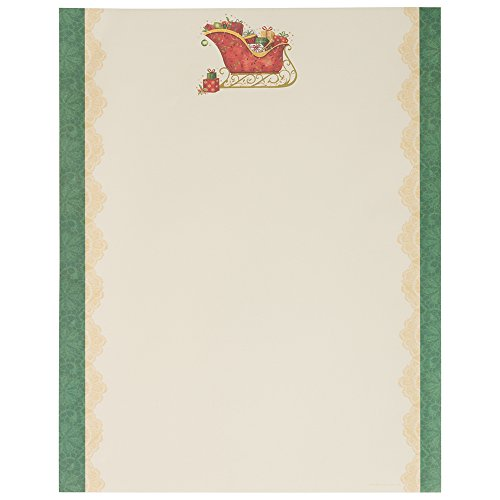 (JAM PAPER Christmas 28lb Paper - 8.5 x 11 - Santa's Sleigh with Green Edging - 100 Sheets/Pack )