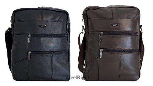 LORENZ Echtes Leder Mann Tasche Freizeit Retro Umhängetasche Schultertasche Handtasche Tasche Schultasche, Geschäft Unterlagen, Messenger Bag. (3757-DUNKELBRAUN)