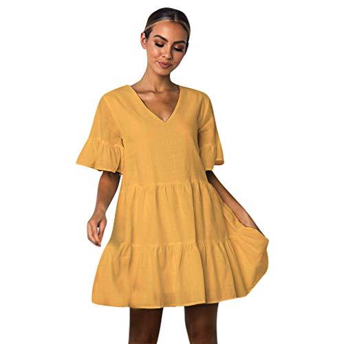 Mikilon Women's Cute Shift Dress Fully Lined Bell Sleeve Ruffle Hem V Neck Loose Swing Tunic Mini Dress Black ()