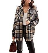 GRACE KARIN Women's Button Down Plaid Shacket Jackets Boyfriend Long Sleeve Oversized PU Leather ...