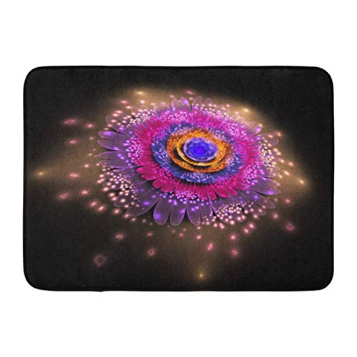 Puyrtdfs Doormats Bath Rugs Outdoor/Indoor Door Mat Abstract Exotic Flower Glowing Sparkles on Fantasy Fractal in Orange Blue and Crimson Colors Psychedelic Bathroom Decor Rug 16