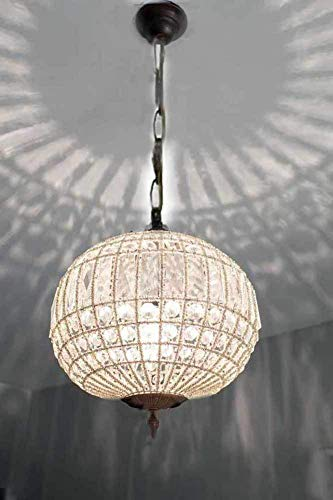 (Egypt gift shops Bronze Antique Patina Basket Brass French Empire Crystal Beads Ceiling Lamp Globe Ball Orbit Round Finial Light Chandelier + Chain +)