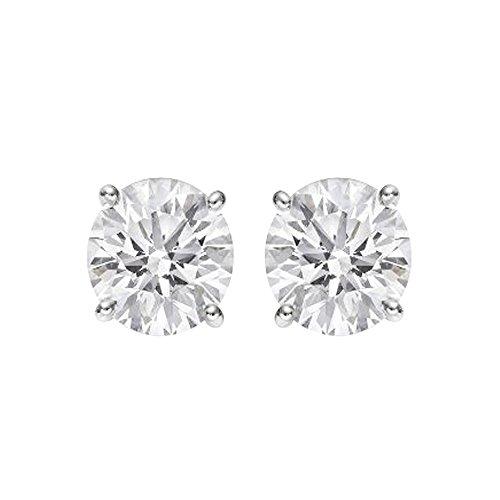 Boucles d'oreilles en or blanc 14carats Diamant rond certifié IGI (couleur buyfinediamonds g-H, I2-I3Clarté)