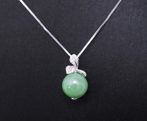 - Tiny Natural Green Emerald Jade Necklace Sterling Silver Flower Jewelry