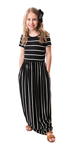 Chrome Classic Girls Brooklyn Striped Maxi Dress Made In The USA (Black, X-Large)