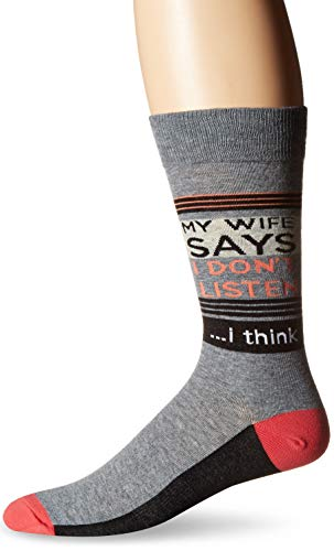 K. Bell Men's Play On Words Novelty Crew Socks, Gray (My Wife Says), Shoe Size: 6-12